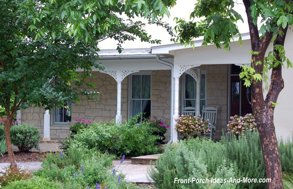 charming front porch with column brackets in Fredericksburg Texas