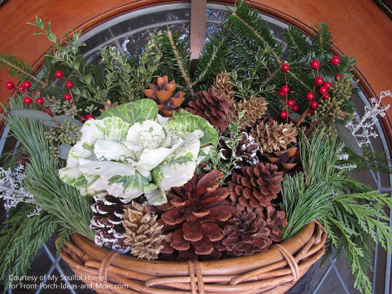 My Soulful Home - pretty basket for front porch with fresh greenery, pinecones, berries and kale