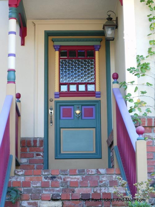 colorful front door on small porch