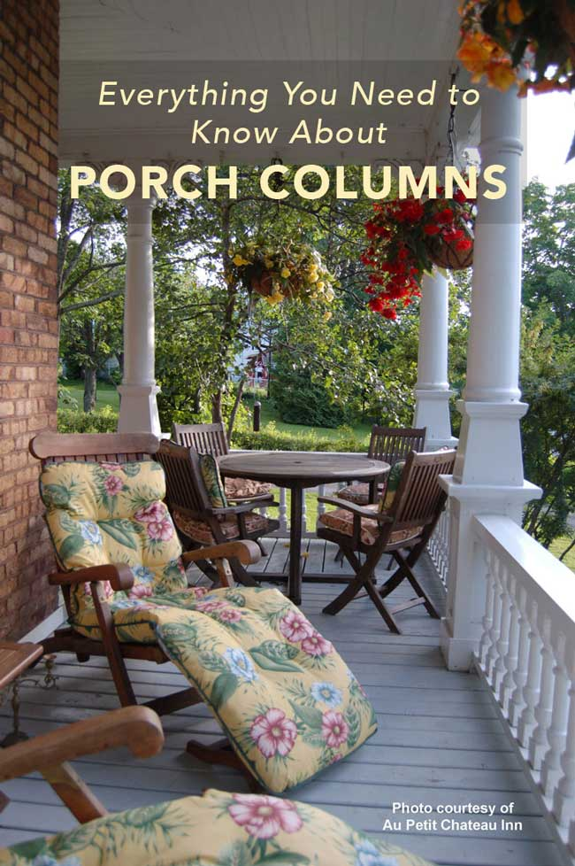 ornate porch columns at country inn