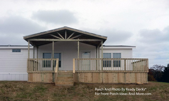 front porch and deck combination on mobile home