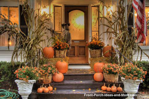 front porch designs - autumn porch