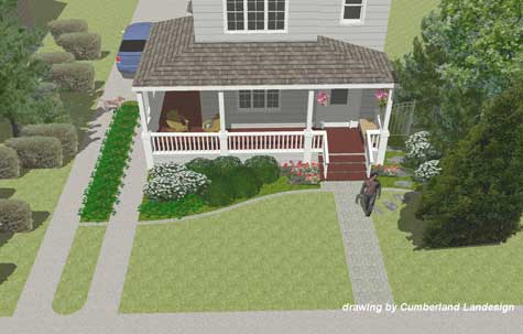 close up rendering of front porch