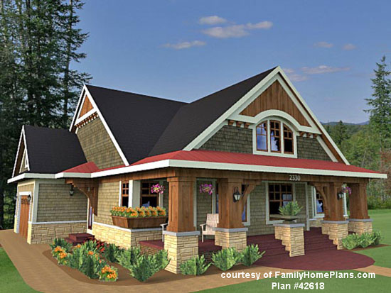 house plan rendering with front porch