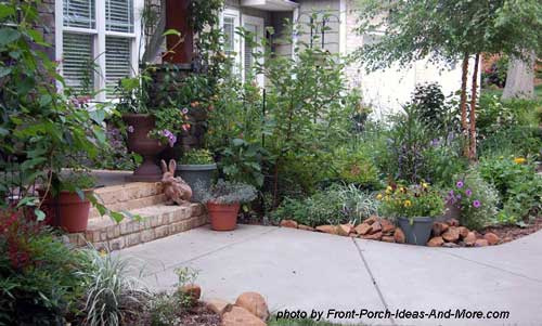 Beautifully landscaped porch