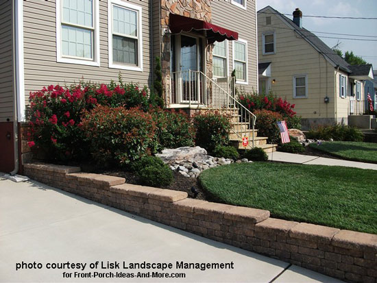 landscaped front yard with colorful shrubs