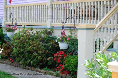 Landscaping front yard should not hide beautiful elements of your porch