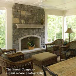 screened in porch with correct furniture placement