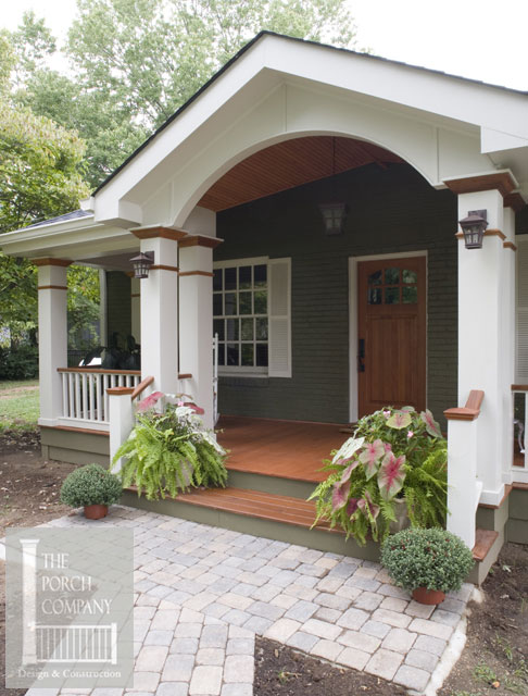 beautifully designed front porch with hip and gable roofs