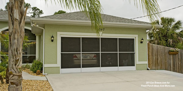 Screen porch windows on garage opening