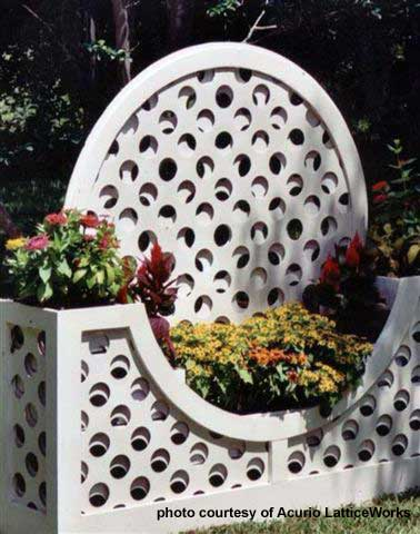 lattice panels used as planters in yard