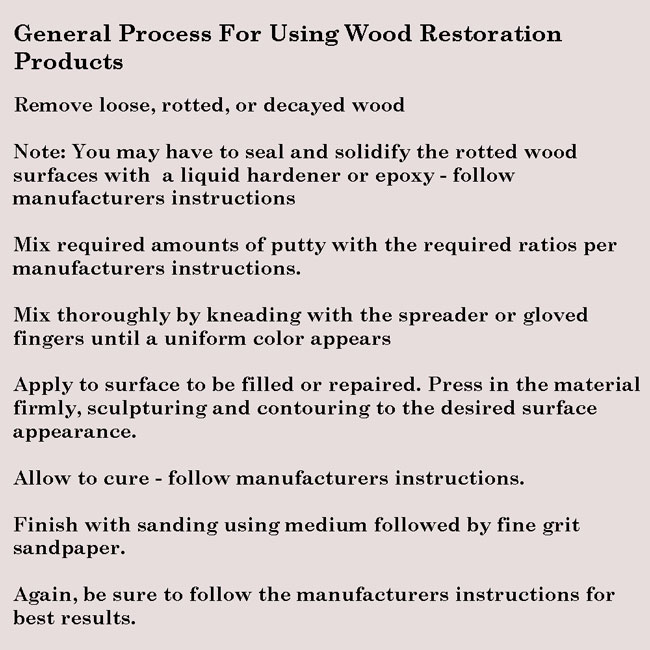 general instructions for using a Wood Restoration Kit