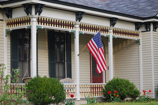 front porch with exterior house trim