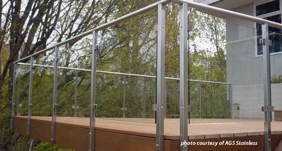 glass railing system on beautiful deck
