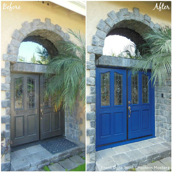 Before and after painting of front door from grey to blue