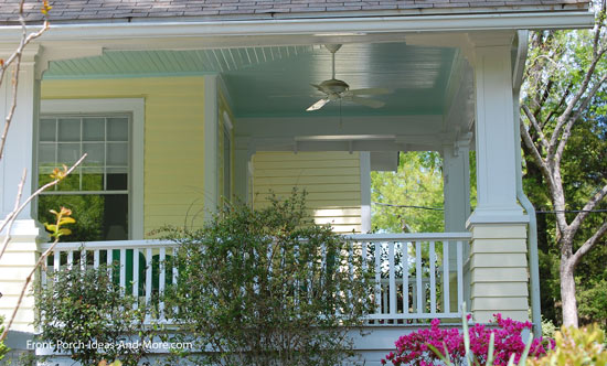 front porch ceiling painted haint blue