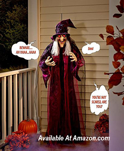 animated talking witch for Halloween decorating from Amazom.com