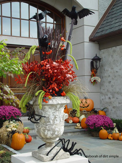 eye-catching Halloween decorating display with crows