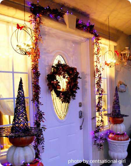 Lavishly decorated front door for Halloween
