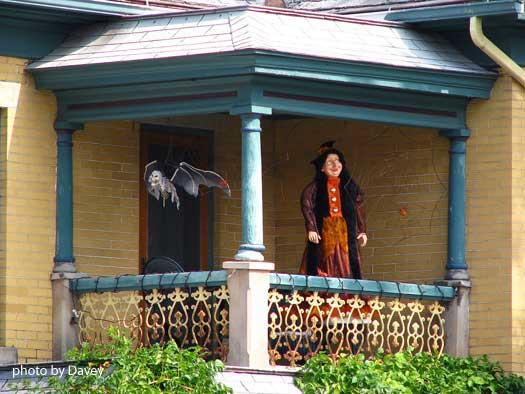 Victorian-style Halloween porch decorating