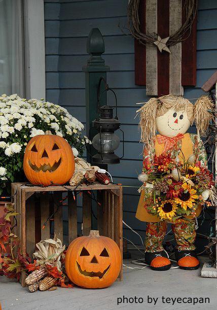 Halloween decorated porch