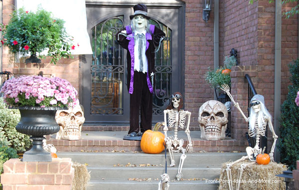 amazingly decorated front door for halloween