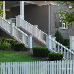 non-continuous hand rails on front porch