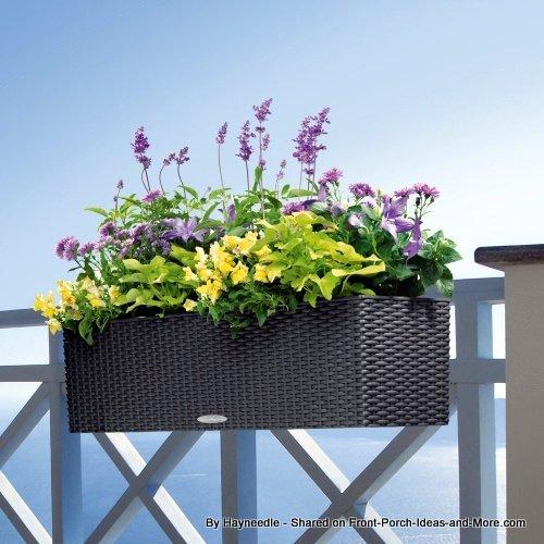 weather resistant wicker looking resin planter that is self watering