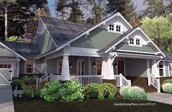 bungalow arts and craft style home with wide front porch