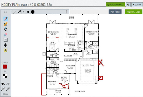 screenshot depicting interactive home plan design tool