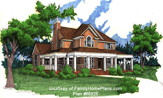 Home and porch built from Family Home Plans #65826