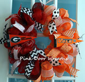 football wreath with for two teams
