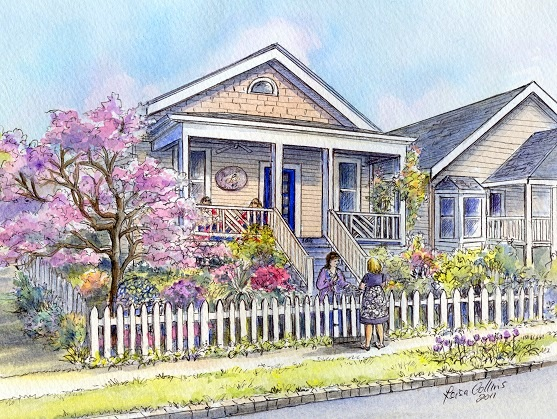 house portrait painting - nostalgic neighborhood scene - watercolor by Leisa Collins