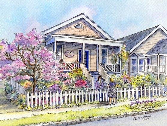 house portrait painting - nostalgic neighborhood scene - watercolor by Leisa Collins