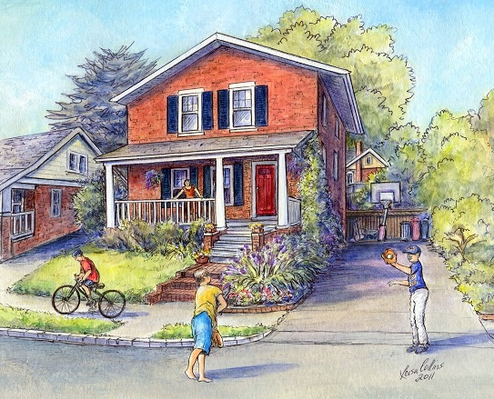 house portrait painting reflects the memories of growing up in this wonderful two-story home - watercolor by Leisa Collins