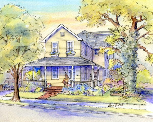 Beautiful custom house portrait painting - wraparound porch! Learn how you might have one of your home or for a wonderful gift