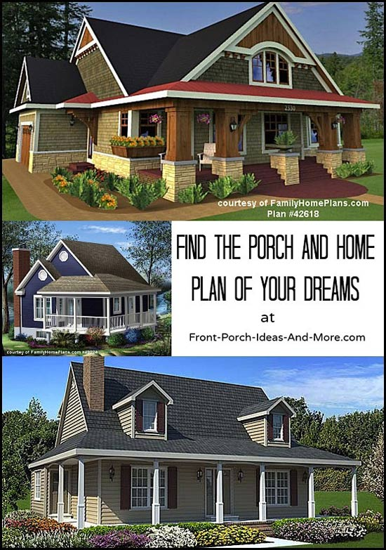collage of house plans with porches
