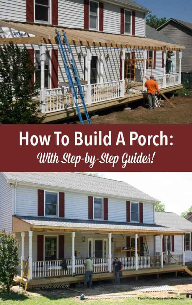 How to build a porch build a front porch front porch addition installing rafters on new front porch construction solutioingenieria Image collections