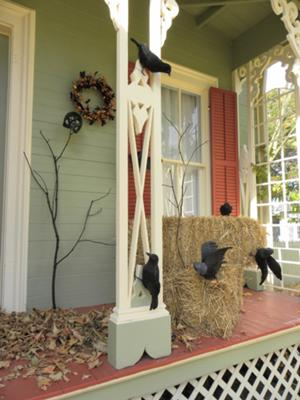 bare branch and crows on front porch