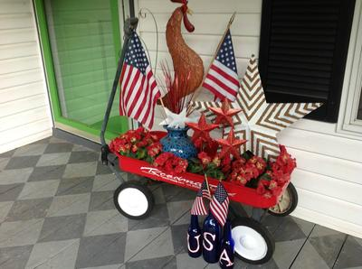 Beth's Iconic Americana - adorable red wagon porch decorated in a patriotic theme