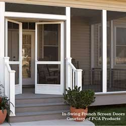 beautiful french doors on porch open to the outside