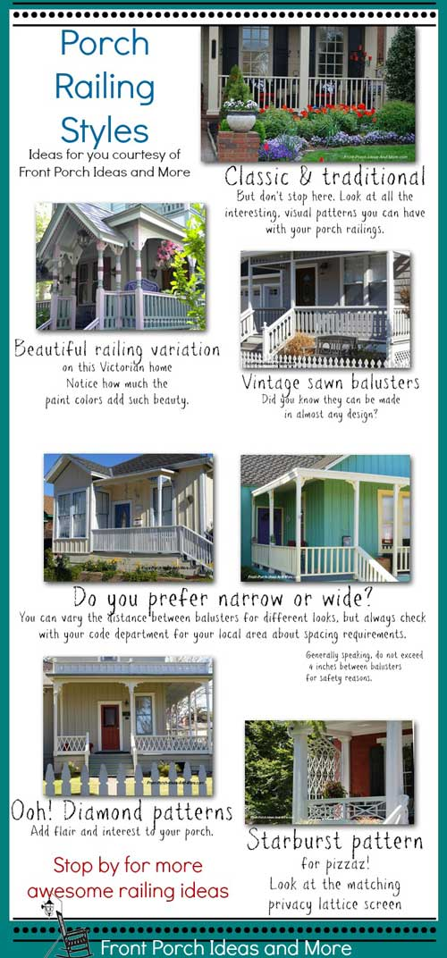 Porch railings can give your porch delightful personality