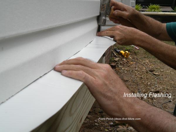 installing flashing on vinyl siding for ledger board installation