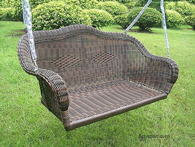 brown wicker porch swing