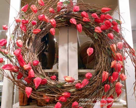 Japanese Lantern front door wreath