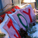 Our Christmas pillows that spell J-O-Y are easy to make