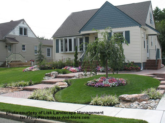 small landscaped yard with foliage and hardscape