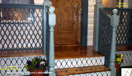lattice vinyl deck railings on front porch