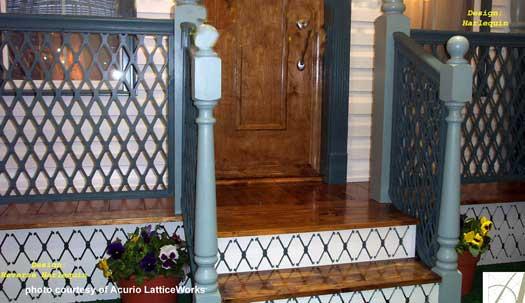 lattice vinyl deck railings on front porch