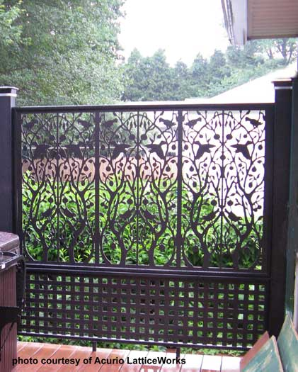 custom designed lattice deck railings